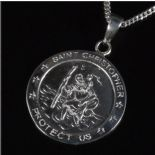 Silver St Christopher 22mm personalised engraved with chain, ref. SCP22